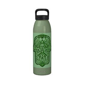 Henna Hand of Hamsa (Green) Reusable Water Bottles