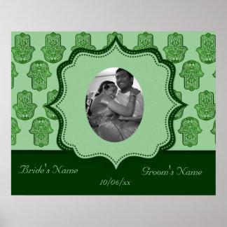 Henna Hand of Hamsa (Green) (Wedding) Poster