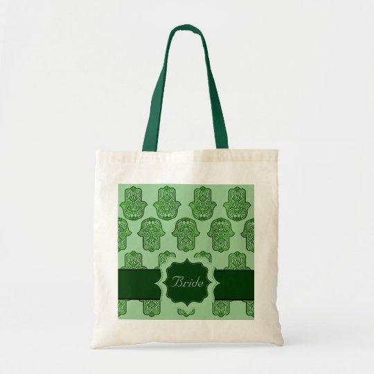 Henna Hand of Hamsa (Green) (Wedding) Tote Bag