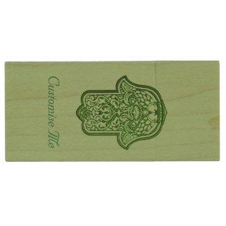 Henna Hand of Hamsa (Green) Wood USB Flash Drive