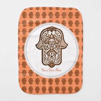 Henna Hand of Hamsa (Orange) Burp Cloth
