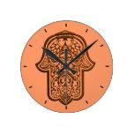 Henna Hand of Hamsa (Orange) Clock