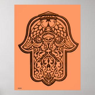Henna Hand of Hamsa (Orange) Poster