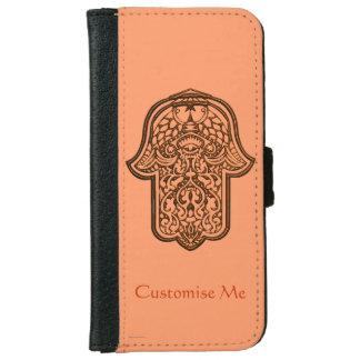 Henna Hand of Hamsa (Orange) Wallet Phone Case For iPhone 6/6s