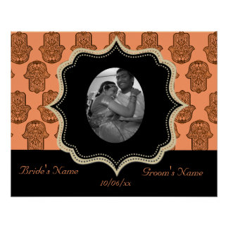 Henna Hand of Hamsa (Orange) (Wedding) Poster