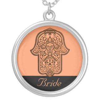 Henna Hand of Hamsa (Orange) (Wedding) Silver Plated Necklace