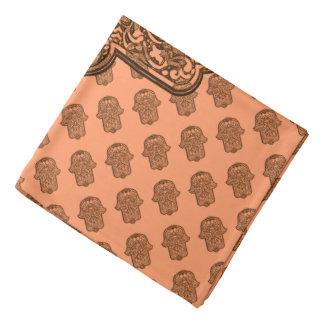 Henna Hand of Hamsa (Orange) Bandanas