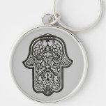 Henna Hand of Hamsa (Original) Silver-Colored Round Keychain