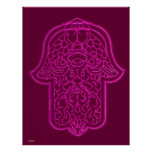 Henna Hand of Hamsa (Pink) Poster
