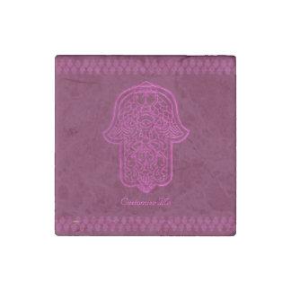 Henna Hand of Hamsa (Pink) Stone Magnet