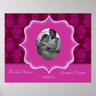 Henna Hand of Hamsa (Pink) (Wedding) Poster