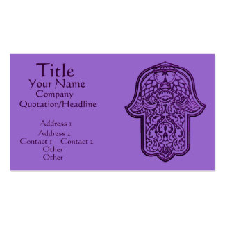 Henna Hand of Hamsa (Purple) Double-Sided Standard Business Cards (Pack Of 100)