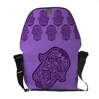 Henna Hand of Hamsa (Purple) Courier Bag