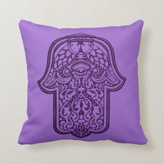 Henna Hand of Hamsa (Purple) Throw Pillow