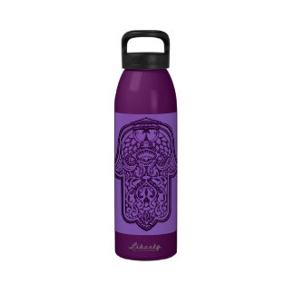 Henna Hand of Hamsa (Purple) Drinking Bottles