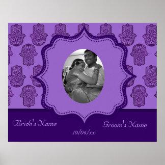 Henna Hand of Hamsa (Purple) (Wedding) Poster