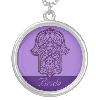 Henna Hand of Hamsa (Purple) (Wedding) Silver Plated Necklace