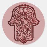 Henna Hand of Hamsa (Red) Classic Round Sticker