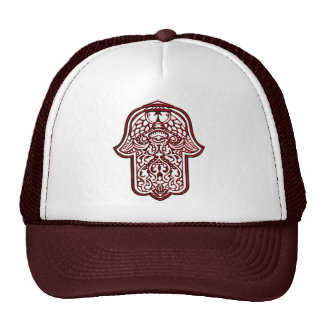 Henna Hand of Hamsa Red Trucker Hats