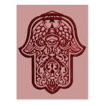 Henna Hand of Hamsa (Red) Postcard