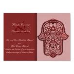 "Henna Hand of Hamsa (Red) (Wedding) 5"" X 7"" Invitation Card"