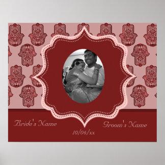 Henna Hand of Hamsa (Red) (Wedding) Poster
