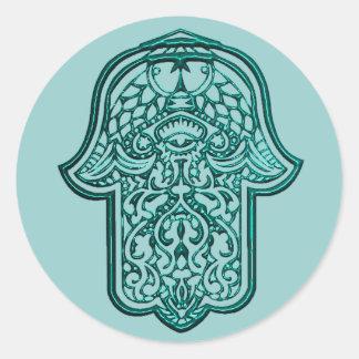 Henna Hand of Hamsa (Teal) Classic Round Sticker