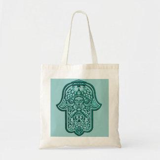 Henna Hand of Hamsa (Teal) Tote Bag