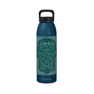 Henna Hand of Hamsa (Teal) Water Bottle