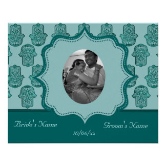 Henna Hand of Hamsa (Teal) (Wedding) Poster