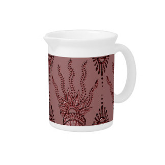 Henna Hand (Red) Beverage Pitcher