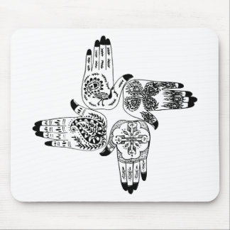Henna Hands 4 Square Paisley Tattoo Vintage Mousepads