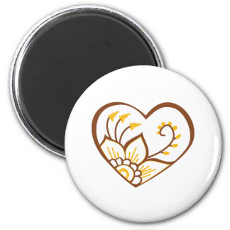 Henna Heart Yellow 2 Inch Round Magnet