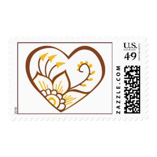 Henna Heart Yellow Postage
