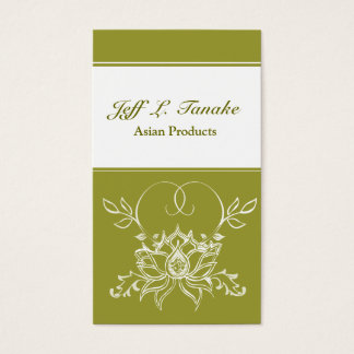 Henna Indian  White Lotus Flower Business Card