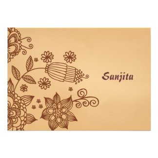 Henna Inspiration Personalized Stationery Notecard Announcement
