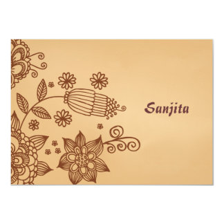Henna Inspiration Personalized Stationery Notecard 4.5x6.25 Paper Invitation Card