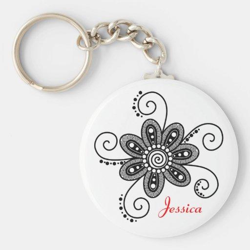 Henna Inspired Spiral Flower (Black & White) Key Chain