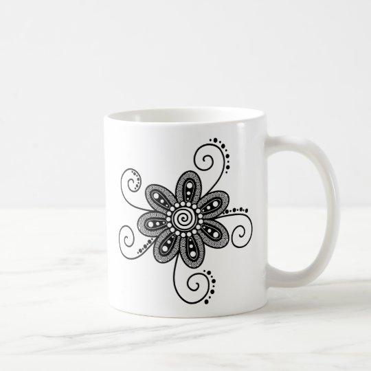 Henna Inspired Spiral Flowers (Black & White) Coffee Mug