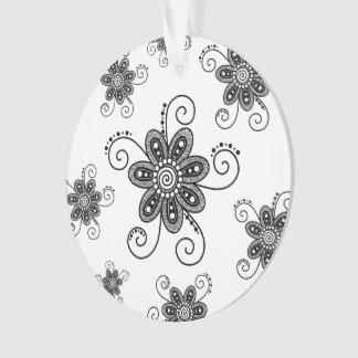 Henna Inspired Spiral Flowers (Black & White) Ornament