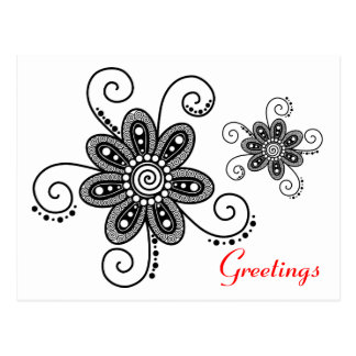 Henna Inspired Spiral Flowers (Black & White) Postcard