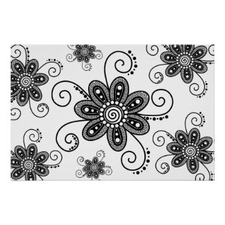 Henna Inspired Spiral Flowers (Black & White) Print