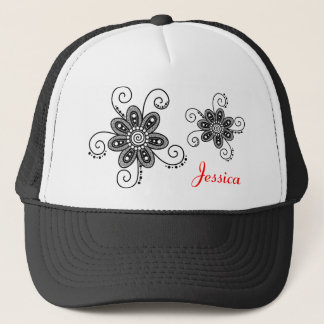 Henna Inspired Spiral Flowers (Black & White) Trucker Hat