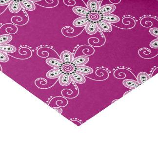 """Henna Inspired Spiral Flowers (Magenta Background) 10"""" X 15"""" Tissue Paper"""