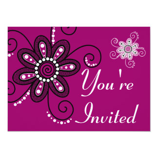 Henna Inspired Spiral Flowers (Magenta Background) Card