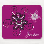 Henna Inspired Spiral Flowers (Magenta Background) Mousepad