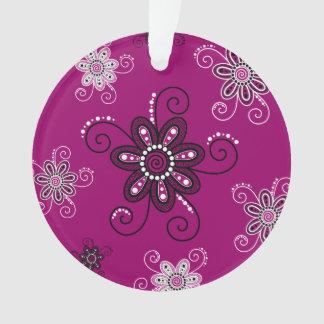 Henna Inspired Spiral Flowers (Magenta Background) Ornament