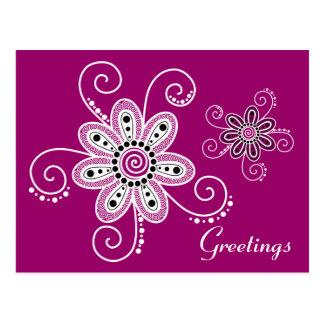 Henna Inspired Spiral Flowers (Magenta Background) Postcard