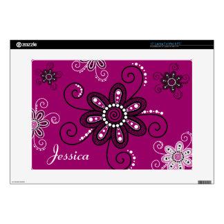 "Henna Inspired Spiral Flowers (Magenta Background) Skins For 15"" Laptops"