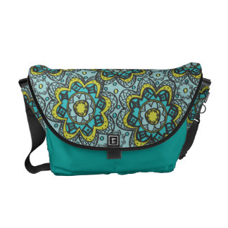 Henna Like Flower Teal and Lime Courier Bag